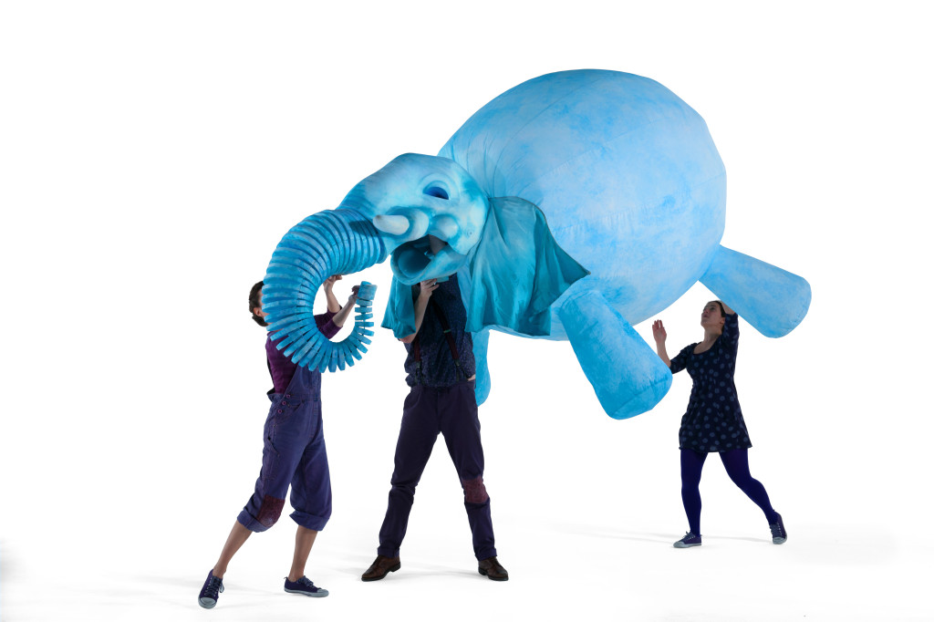Puppeteers work with an Elephantom puppet