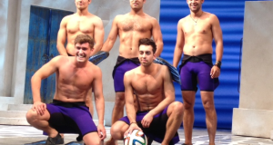 The cast of Mamma Mia show off their footballing skills.