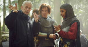 Dominic Cooke with Benedict Cumberbatch and Sophie Okonedo, on location filming Hollow Crown: The Wars of the Roses