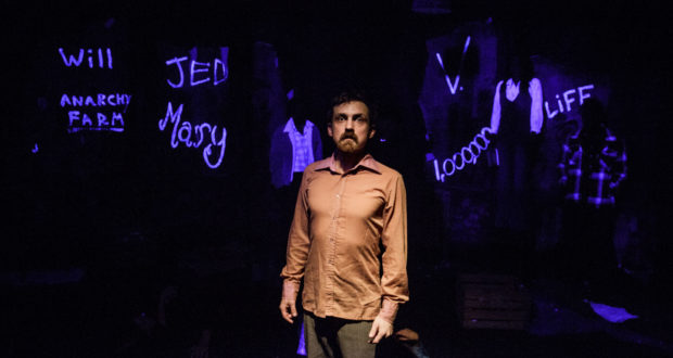 Joel Gillmen in Howard Brenton's Magnificence at the Finborough Theatre (Photo credit Tegid Cartwright)
