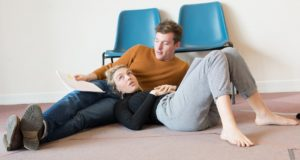 Christopher Adams and Florence Roberts in rehearsal for Sarah Page's 'Punts' at Theatre503 (Photo by Claudia Marinaro)