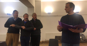 Paul Ryan, Mike Sadler, Paul Storrier and Reggie Oliver in rehearsals for 'Doodle - The Musical!' at Waterloo East Theatre