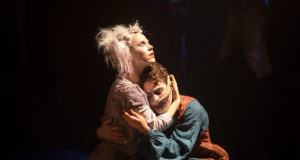 Louis Maskell and Sanne Den Besten in 'The Grinning Man' at Trafalgar Studios (Photo by Helen Maybanks)