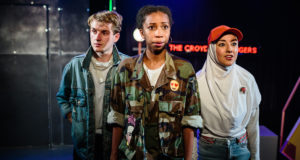 Theo Toksvig-Stewart, Nicole Sawyerr and Shala Nyx in 'The Croydon Avengers' at Ovalhouse