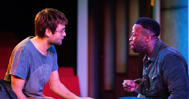 Douglas Booth (left) and Clifford Samuel in 'A Guide for the Homesick' at Trafalgar Studios (Photo by Helen Maybanks)