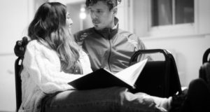 Dilek Rose and Gareth Kieran Jones in rehearsals for 'Cuzco' at Theatre503 (Photo by Holly Lucas)