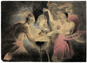 """""""John Downman Witches from Macbeth"""" by John Downman - Galerie Bassenge. Licensed under Public domain via Wikimedia Commons"""