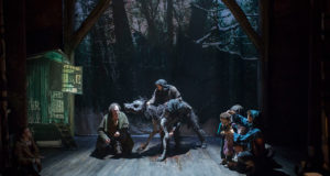 Wolf puppetry in 'The Grinning Man' at Trafalgar Studios (Photo by Helen Maybanks)