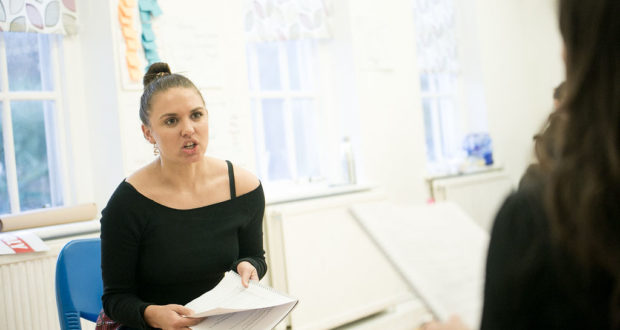 Katherine Samuelson in rehearsals for Liv Warden's 'Anomaly' at Old Red Lion Theatre (Photo by Toby Lee)