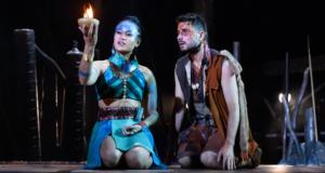 Emily Bautista (Ayla) and Jacob Fowler (Mohr) in Vanara The Legend